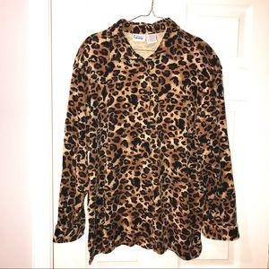 Velour Comfy Soft Leopard Vintage Shirt, Size XL